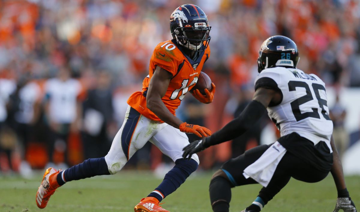 Emmanuel Sanders should be a top target for the Broncos when they face the Los Angeles Chargers Sunday.