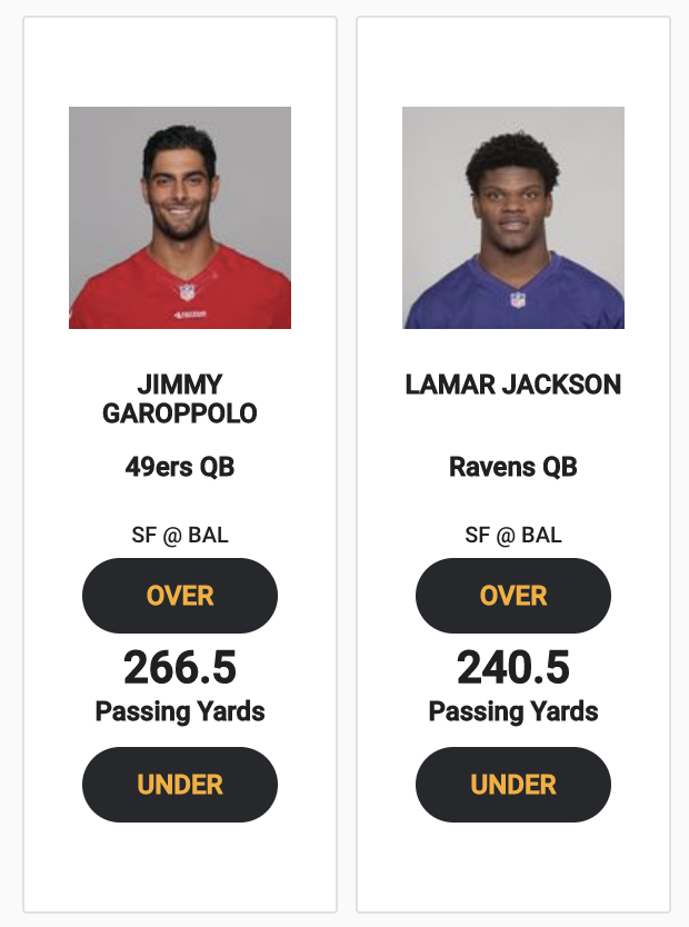 Jimmy G or Lamar J most pass yards