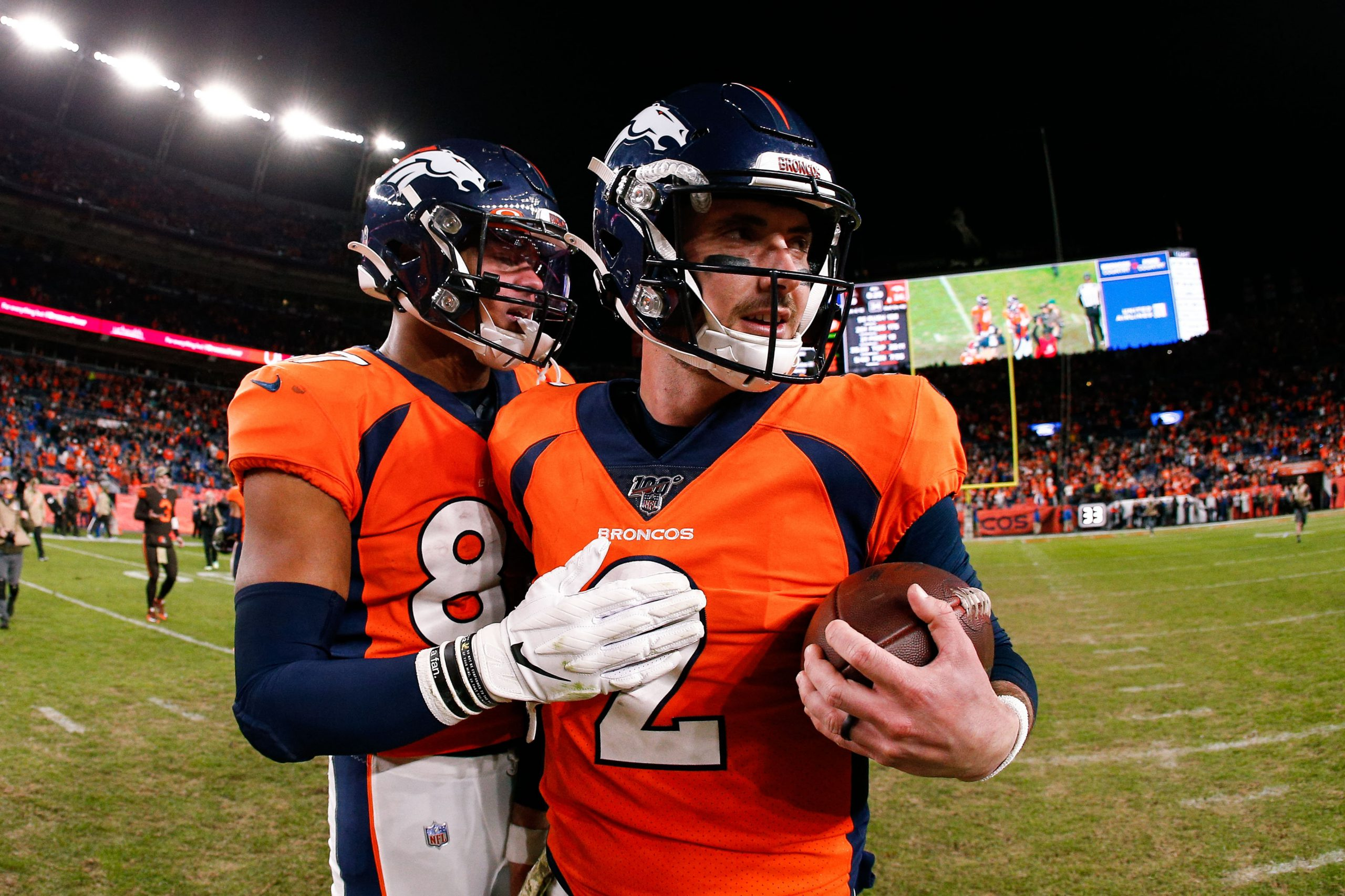 Nov 3, 2019; Denver, CO, USA; Denver Broncos tight end Noah Fant (87) celebrates with quarterback Brandon Allen (2) after the game against the Cleveland Browns at Empower Field at Mile High. Mandatory Credit: Isaiah J. Downing-USA TODAY Sports