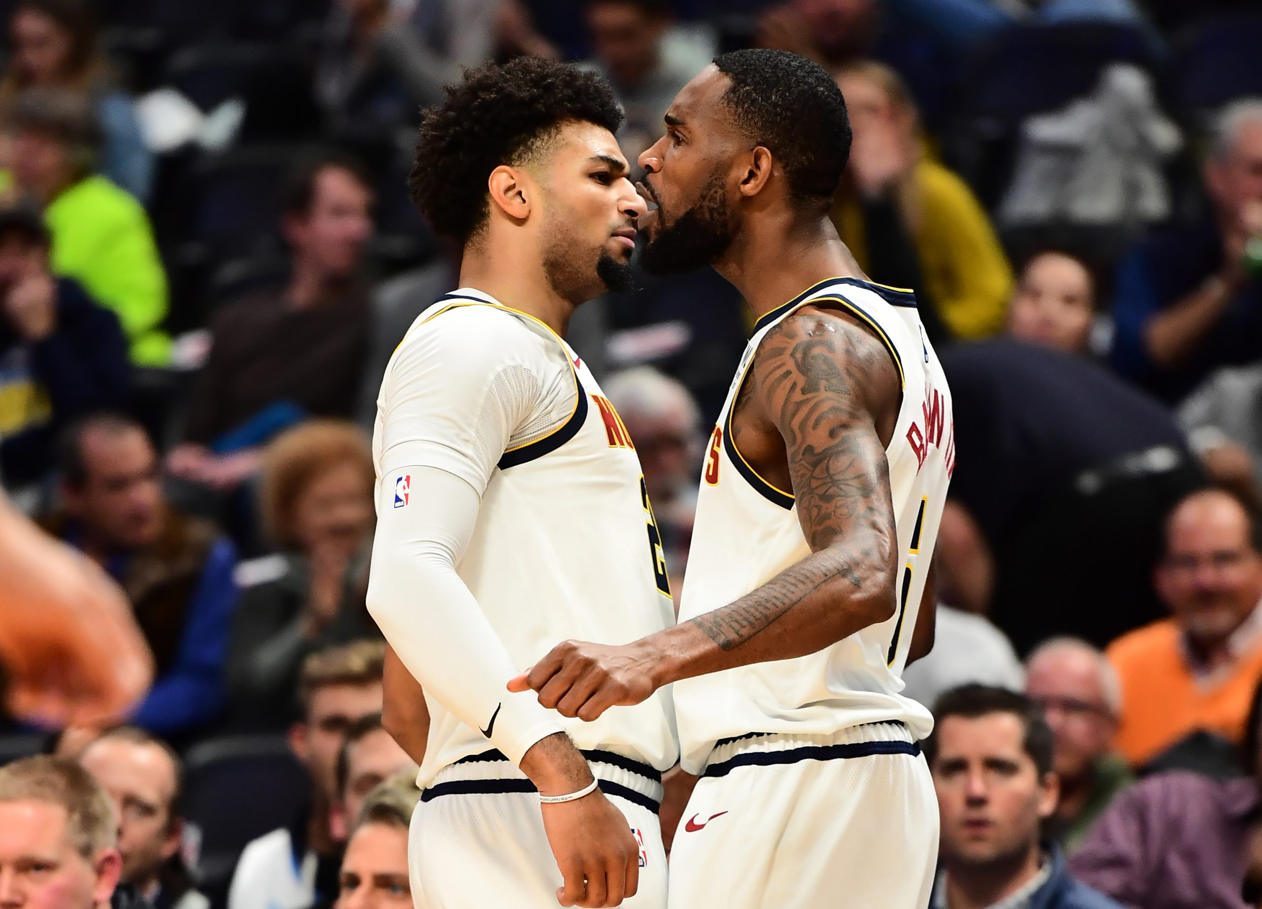 Nov 5, 2019; Denver, CO, USA; Denver Nuggets forward Will Barton (5) celebrates his basket with guard Jamal Murray (27) in the first quarter against the Miami Heat at the Pepsi Center. Mandatory Credit: Ron Chenoy-USA TODAY Sports