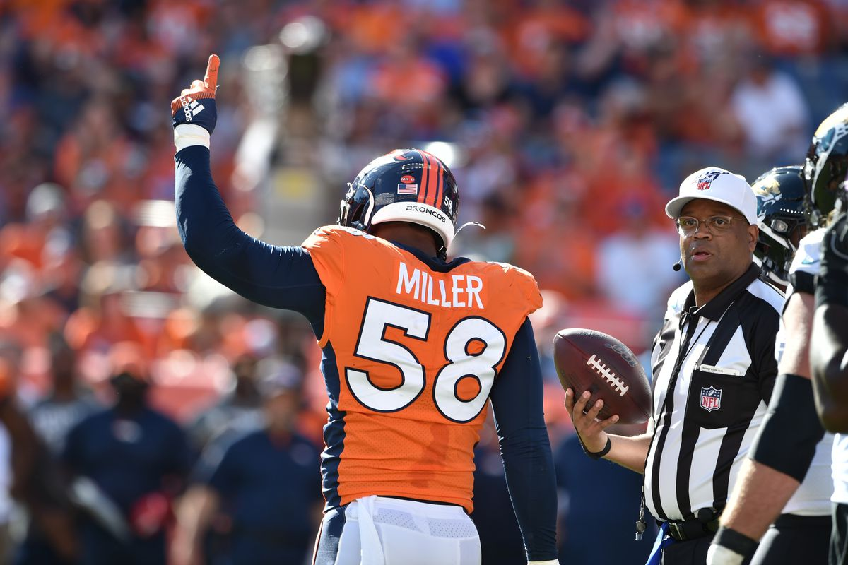Von Miller and the Denver defense will look to put a lot of pressure on Cleveland Browns quarterback Baker Mayfield on Sunday.