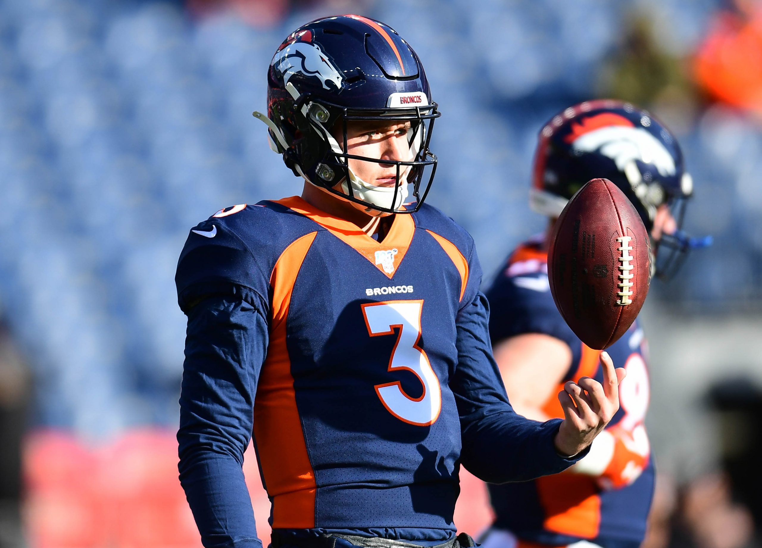 Dec 1, 2019; Denver, CO, USA; Denver Broncos quarterback Drew Lock (3) before the game against the Los Angeles Chargers at Empower Field at Mile High. Mandatory Credit: Ron Chenoy-USA TODAY Sports